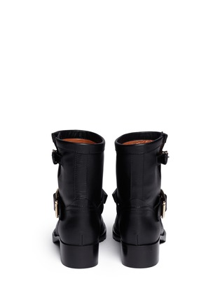 Back View - Click To Enlarge - Valentino - 'Rockstud' buckle strap leather ankle boots