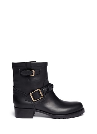 Main View - Click To Enlarge - Valentino - 'Rockstud' buckle strap leather ankle boots
