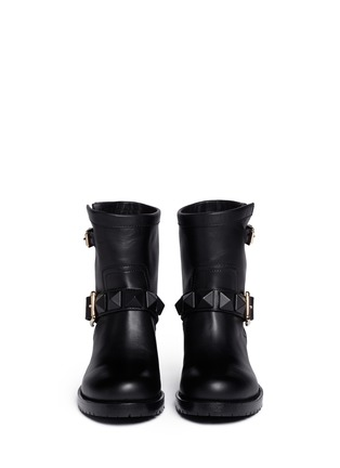 Figure View - Click To Enlarge - Valentino - 'Rockstud' buckle strap leather ankle boots