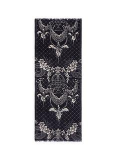 PASHMAEmbellished lace print cashmere-silk scarf