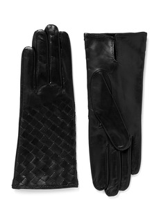 MAISON FABREBasketweave leather gloves