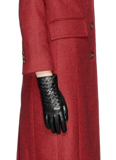 MAISON FABRE Basketweave leather gloves