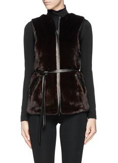 FLAMINGO'American Dark Ranch' mink fur leather trim gilet
