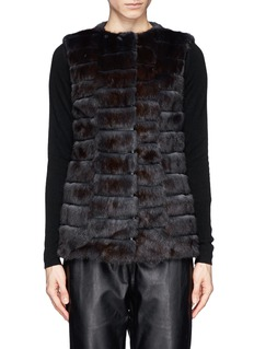 FLAMINGO Stripe leather and mink fur gilet