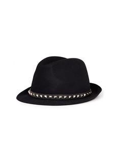 Valentino 'Rockstud' band rabbit furfelt fedora hat