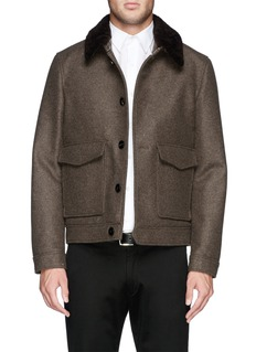 HARDY AMIES Lambswool collar felt blouson jacket