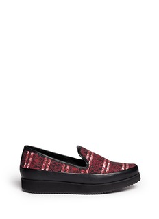 MOTHER OF PEARL'Kennedy' floral print canvas leather trim slip-ons