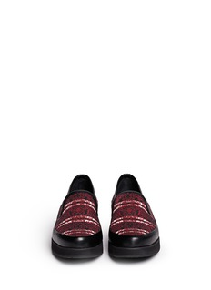 MOTHER OF PEARL 'Kennedy' floral print canvas leather trim slip-ons