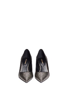 NICHOLAS KIRKWOOD Geometric metallic brocade mirror heel pumps