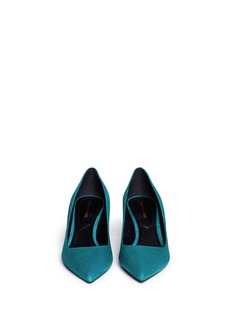 NICHOLAS KIRKWOOD Triangular mirror heel suede pumps