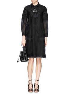 NO. 21Sheer organza floral lace shirt dress