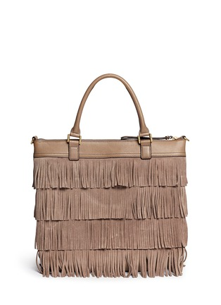 Back View - Click To Enlarge - Tory Burch - Tassel suede tote