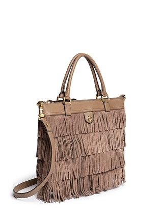 Front View - Click To Enlarge - Tory Burch - Tassel suede tote