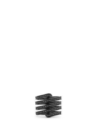 Lynn Ban-'Pavé Coil' diamond black rhodium silver ring