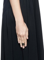 'Pavé Coil' diamond black rhodium silver ring