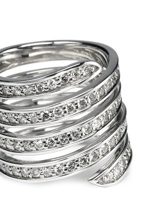 Detail View - Click To Enlarge - Lynn Ban - 'Pavé Coil' diamond sterling silver ring