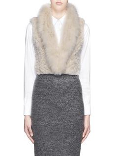 H BRAND'Grace' fox fur collar rabbit fur crop gilet