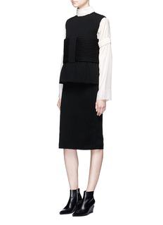 Ms MINObi belt wool rib knit dress
