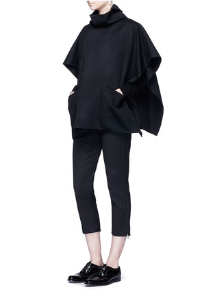 Figure View - Click To Enlarge - Ms MIN - Stand collar felted wool-cashmere cape