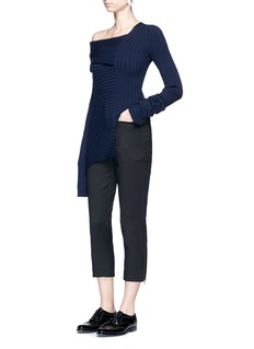Ms MIN One-shoulder rib knit sweater