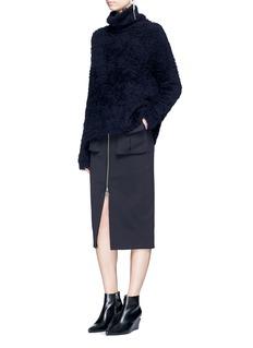 Ms MINRaw edge zip front skirt