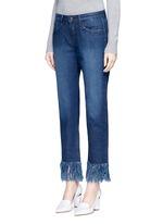 'WM3' fringe cuff cropped jeans