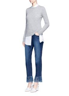 3x1'WM3' fringe cuff cropped jeans
