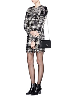 Alexander Wang  Check plaid leather trim tweed jacket