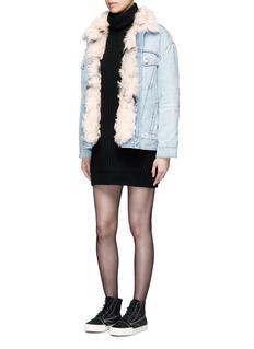 Alexander Wang Lambskin shearling lined boyfriend denim jacket