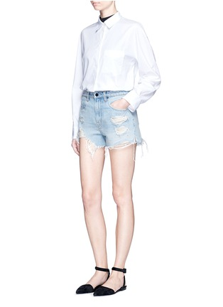 Figure View - Click To Enlarge - Alexander Wang  - 'Bite' distressed cut-off denim shorts