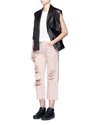 Figure View - Click To Enlarge - Alexander Wang  - 'Rival' distressed cropped jeans