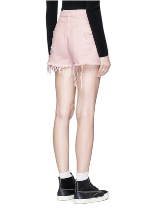 Back View - Click To Enlarge - Alexander Wang  - 'Romp' oversized distressed denim shorts