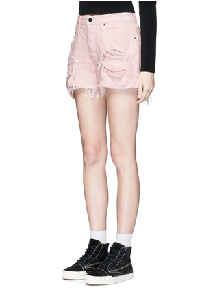 Front View - Click To Enlarge - Alexander Wang  - 'Romp' oversized distressed denim shorts