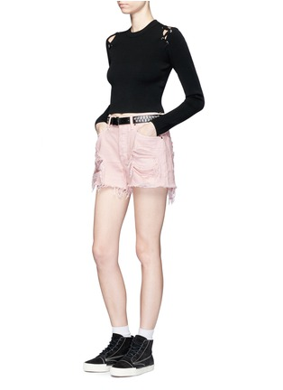 Figure View - Click To Enlarge - Alexander Wang  - 'Romp' oversized distressed denim shorts