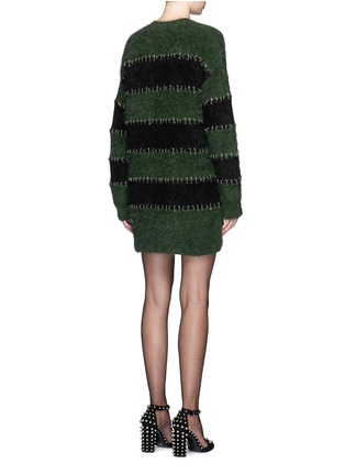 Back View - Click To Enlarge - Alexander Wang  - Pierced eyelet stripe rabbit hair blend knit dress