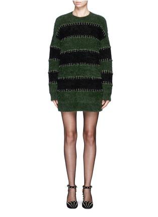 Main View - Click To Enlarge - Alexander Wang  - Pierced eyelet stripe rabbit hair blend knit dress