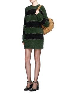 Alexander Wang Pierced eyelet stripe rabbit hair blend knit dress
