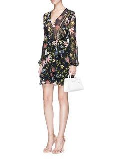 Nicholas'Savanna' floral print ruffle silk chiffon mini dress