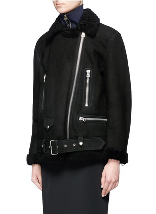 Front View - Click To Enlarge - Acne Studios - More She Sue' lambskin shearling motorcycle jacket