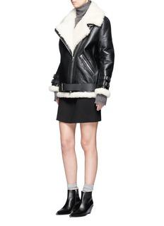 Acne Studios'Velocite' crackle shearling biker jacket