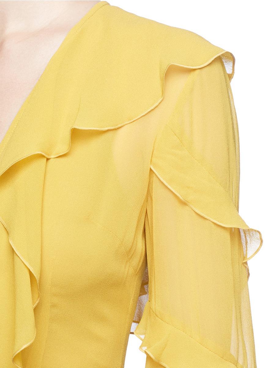 NICHOLAS Ruffle V-Neck Georgette Dress in Saffron