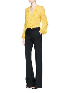 Nicholas Ruffle V-neck silk georgette blouse