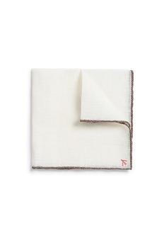 ISAIAContrast edge linen pocket square