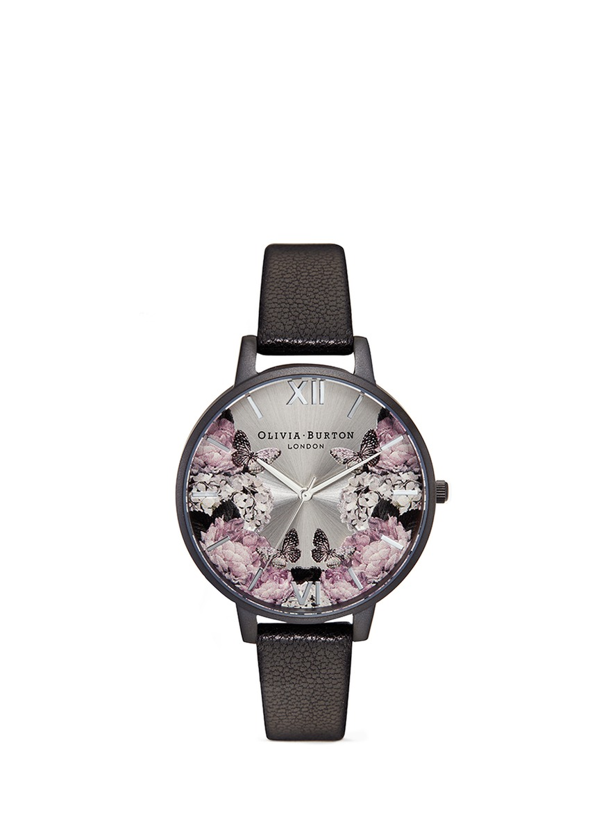 olivia burton female after dark floral print 38mm watch