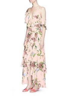 Nicholas 'Evie' floral print ruffle mock wrap maxi dress