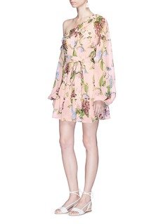 Nicholas 'Evie' floral print tiered ruffle one-shoulder mini dress