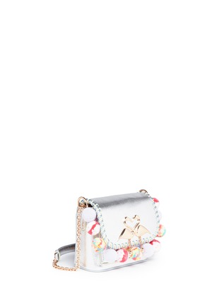 Detail View - Click To Enlarge - Sophia Webster - 'Claudie' pompom flamingo charm leather flap bag