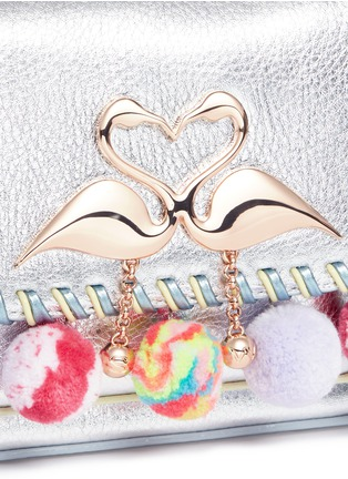 - Sophia Webster - 'Claudie' pompom flamingo charm leather flap bag
