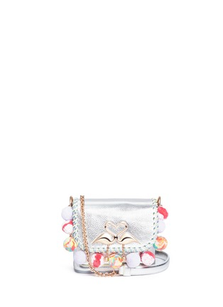 Main View - Click To Enlarge - Sophia Webster - 'Claudie' pompom flamingo charm leather flap bag