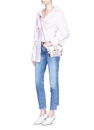 Figure View - Click To Enlarge - Sophia Webster - 'Claudie' pompom flamingo charm leather flap bag